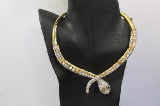 Other Fashion Women Necklace Silver Earring Set Silver Metal Snake Short Gold Image 4