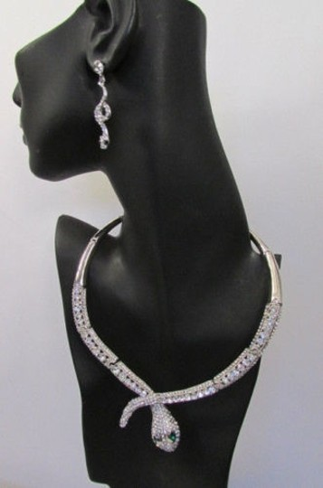 Other Fashion Women Necklace Silver Earring Set Silver Metal Snake Short Gold Image 5