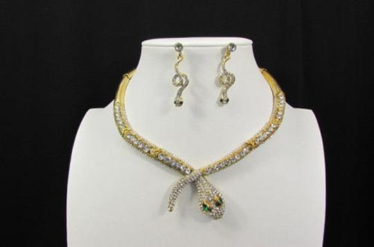 Other Fashion Women Necklace Silver Earring Set Silver Metal Snake Short Gold Image 6