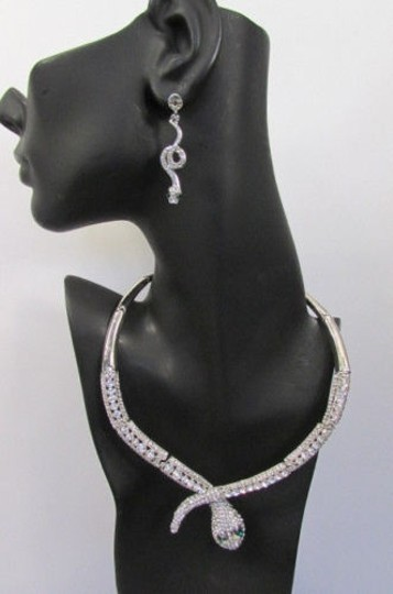 Other Fashion Women Necklace Silver Earring Set Silver Metal Snake Short Gold Image 7