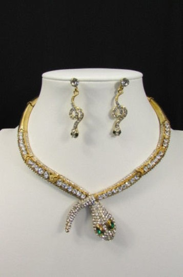 Other Fashion Women Necklace Silver Earring Set Silver Metal Snake Short Gold Image 8