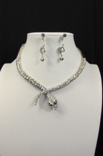 Other Fashion Women Necklace Silver Earring Set Silver Metal Snake Short Gold Image 9