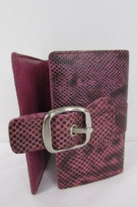 DKNY Dkny Women Purple Black Sample Wallet Faux Snake Skin Trifold Bely Closer
