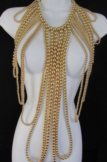 Other Women Gold Multi Ball Beads 30 Long Unique Statement Fashion Necklace Image 1