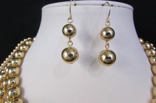 Other Women Gold Multi Ball Beads 30 Long Unique Statement Fashion Necklace Image 10