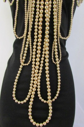 Other Women Gold Multi Ball Beads 30 Long Unique Statement Fashion Necklace Image 11
