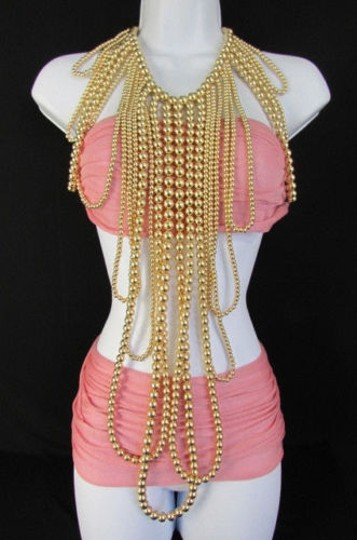 Other Women Gold Multi Ball Beads 30 Long Unique Statement Fashion Necklace Image 2