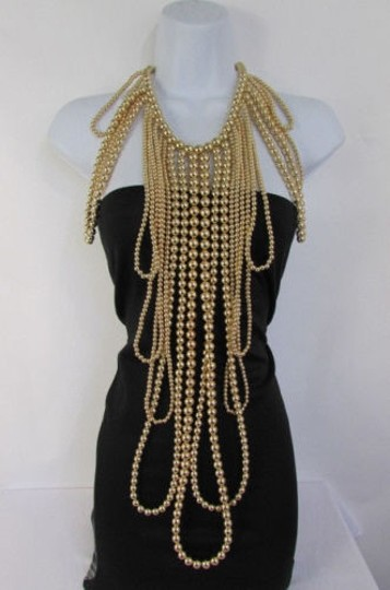 Other Women Gold Multi Ball Beads 30 Long Unique Statement Fashion Necklace Image 3