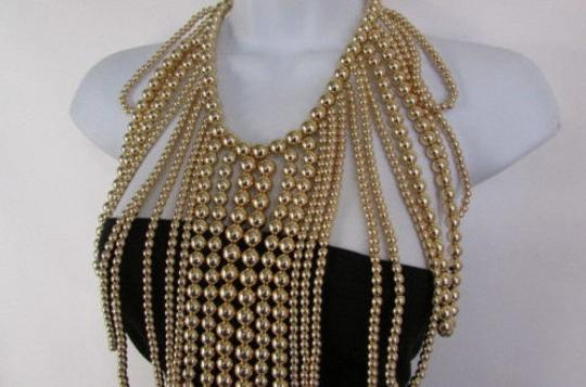 Other Women Gold Multi Ball Beads 30 Long Unique Statement Fashion Necklace Image 4