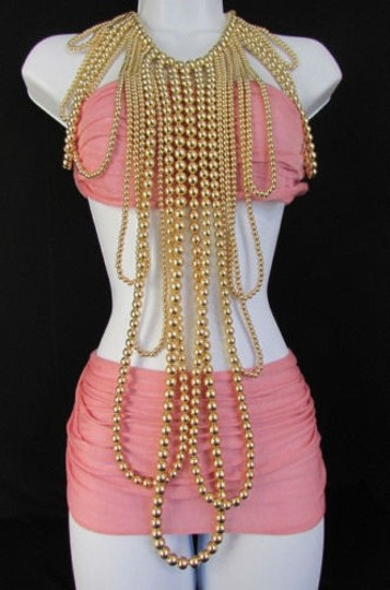 Other Women Gold Multi Ball Beads 30 Long Unique Statement Fashion Necklace Image 6