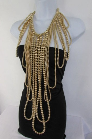 Other Women Gold Multi Ball Beads 30 Long Unique Statement Fashion Necklace Image 7