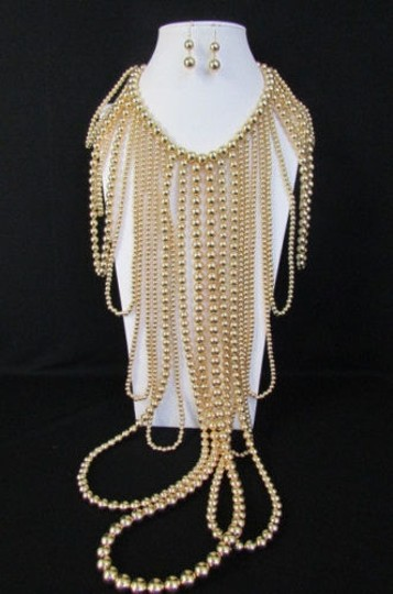Other Women Gold Multi Ball Beads 30 Long Unique Statement Fashion Necklace Image 8