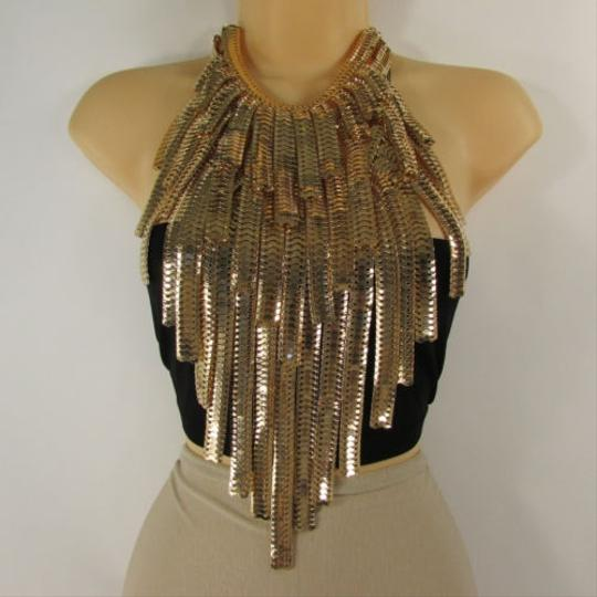 Other Women Long Bib Necklace Gold Silver Metal Link Statement Fashion Chains