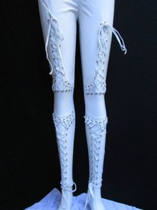 Other Women Off White Fashion Trendy Tights Ties Stitches Xsmall Capri/Cropped Pants Ivories