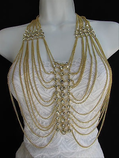 Other Women Gold Metal Chains Long Wide Fashion Necklace Multi Strands Rhinestones 20