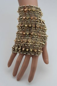 Other Women Gold Uniuque Hand Chain M.j. Metal Glove Bracelet Spikes Rock Roll