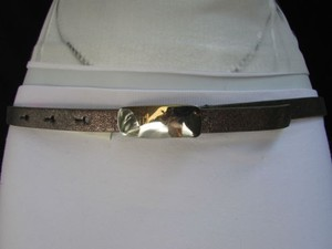 DKNY Dkny Women Thin Dark Silver Pewter Fashion Casual Belt Silver Plate Buckle
