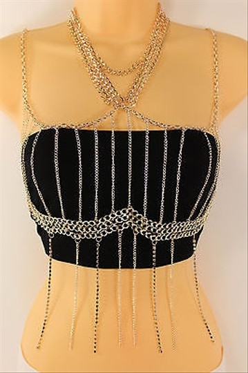 Other Women Gold Metal Full Top Body Chain Fashion Jewelry Beach Long Fringes Necklace