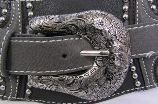 Montana West Women Black Leather Western Fashion Belt Silver Flowers Buckle Front Back Image 11