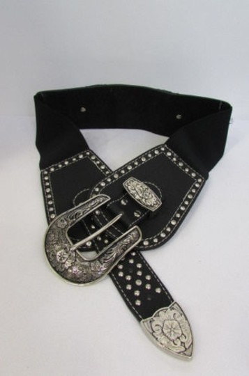 Montana West Women Black Leather Western Fashion Belt Silver Flowers Buckle Front Back Image 2