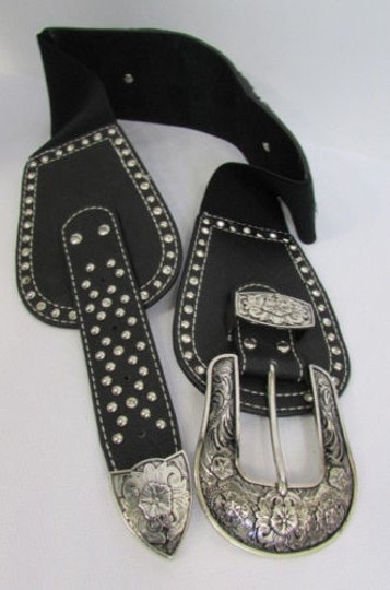 Montana West Women Black Leather Western Fashion Belt Silver Flowers Buckle Front Back Image 4