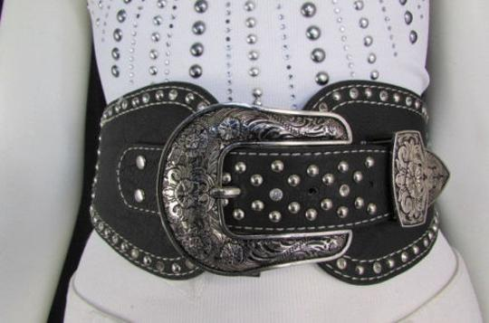Montana West Women Black Leather Western Fashion Belt Silver Flowers Buckle Front Back Image 6