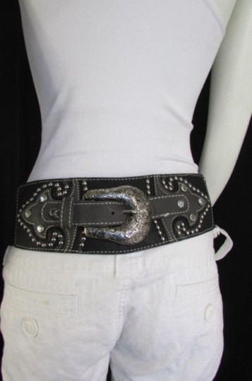 Montana West Women Black Leather Western Fashion Belt Silver Flowers Buckle Front Back Image 8