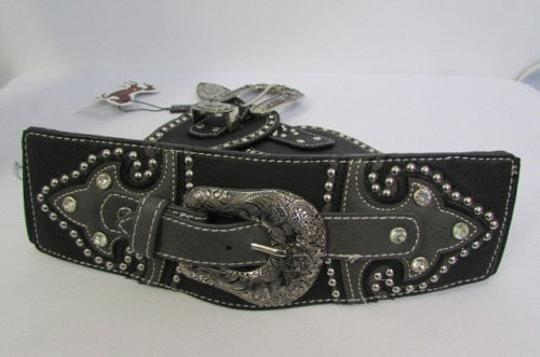Montana West Women Black Leather Western Fashion Belt Silver Flowers Buckle Front Back Image 9
