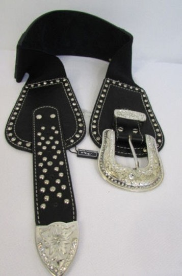 Montana West Women Black Leather Elastic Wide Western Fashion Belt Silver Buckle Crosses