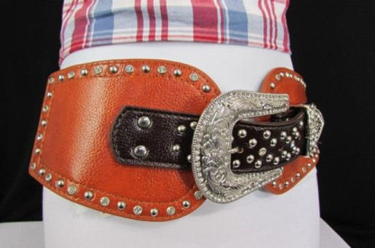 Montana West Women Belt Brown Bull Head Leather Elastic Wide Western Fashion Big Buckle
