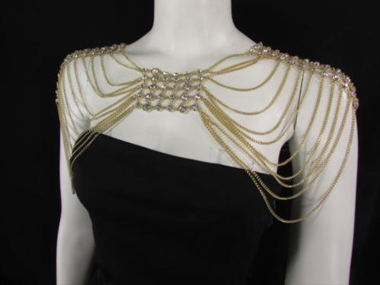 Other Women Shoulders Body Chain Gold Metal Two Sides Top Fashion Jewelry Bib Necklace