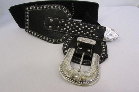 Montana West Women Black Leather Elastic Wide Western Fashion Belt Silver Buckle Horse Image 1