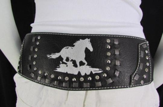 Montana West Women Black Leather Elastic Wide Western Fashion Belt Silver Buckle Horse Image 11