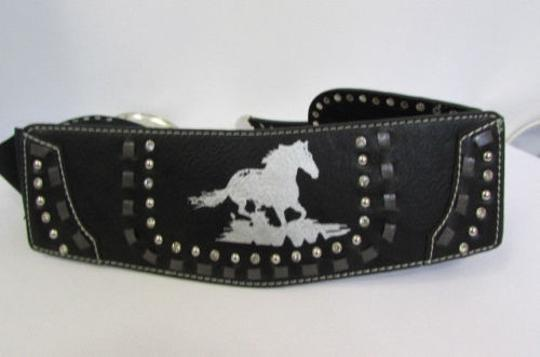 Montana West Women Black Leather Elastic Wide Western Fashion Belt Silver Buckle Horse Image 2