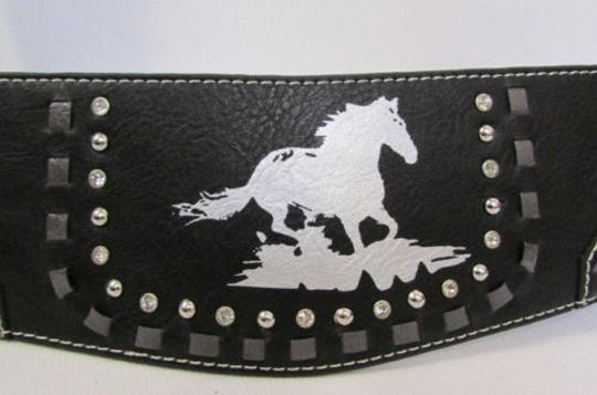 Montana West Women Black Leather Elastic Wide Western Fashion Belt Silver Buckle Horse Image 6