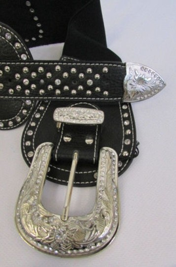 Montana West Women Black Leather Elastic Wide Western Fashion Belt Silver Buckle Horse Image 7