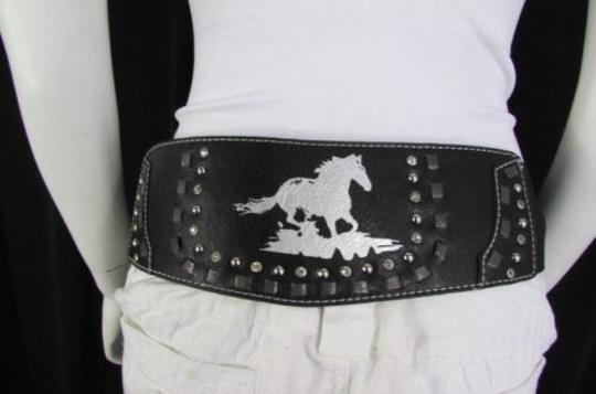 Montana West Women Black Leather Elastic Wide Western Fashion Belt Silver Buckle Horse Image 8