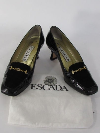 Escada Women Low Heel Suede Top Leather Crocodile Stamp B Black Pumps