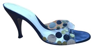 Via Spiga Polka Dot Sandal Backless Leather Black, green, white Pumps