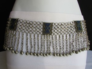 Women Silver Links Chains Blue Beads Fashion Metal Belt Fits 35 Hand Made