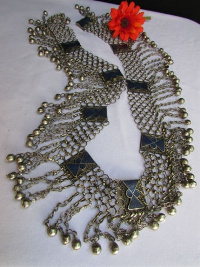 Other Women Silver Links Chains Blue Beads Fashion Metal Belt Fits 35 Hand Made