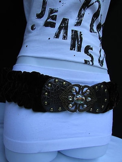 Other Women Elastic Velvet Brown Fabric Fashion Belt Moroccan Silver Beads Sm
