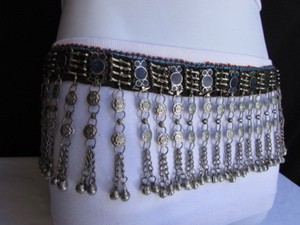 Women Silver Blue Beads Metal Chains Moroccan Fashion Belt Low Hip Dancing