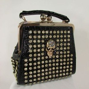 Other Women Faux Handbag Gold Skull Metals Silver Rhinestones Black Clutch