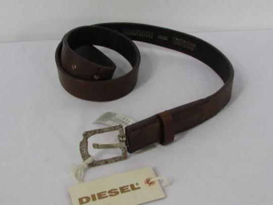 Diesel Diesel Women 1 Thin Brown Leather Fashion Belt Silver Buckle 80cm 29-33