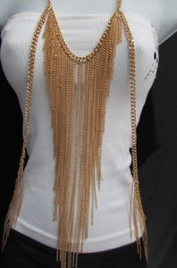 Other Women Gold Full Body Chain Front Hips Side Fringes Fashion Jewelry Necklace