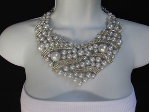 Women Silver Metal Fashion Big Imitation Beads Necklace Rhinestones Earrings