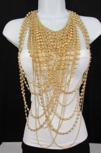 Women Fashion Necklace Jewelry Long Statement Gold Color Strands Shaped Chains
