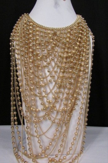 Other Women Fashion Necklace Jewelry Long Statement Gold Color Strands Shaped Chains