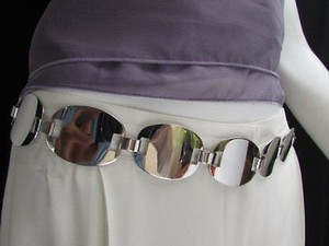 Other Women Silver Metal Chain Waist Hip Oval Fashion Belt 29-40